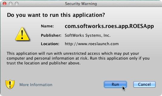 "You will be asked ""Do you want to run this application?"" Select RUN."